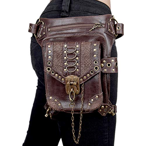 CaoDquan Sac Banane Brown Steampunk Sac de Taille Gothique Rétro Moto Packs épaule en Cuir Sacs à Main Pochette de Course (Color : Brown, Size : Free Size)