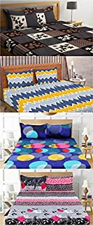 BSB HOME® Cotton 200 GSM with 144 TC Double Bedsheets Combo Pack of 4 King Size Bed Sheet with 8 Pillow Coves (Multicolou...