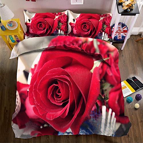 QHDXL Fundas Nórdicas Rosa Roja Juego de Cama Fundas Nordicas Funda Nórdica Suave con Cremallera, 1 Microfibra Funda Nórdica y 2 Fundas de Almohada, Funda Nordica(220x240cm)