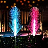Neporal Solar-Garden-Lights-Outdoor-Decorative, 7 Color Changing Fiber Optic Solar Lights, Solar Flowers Lights, Solar Powered Ip65 Waterproof Garden Stakes Decorative Lights for Yard Path 2 Pack
