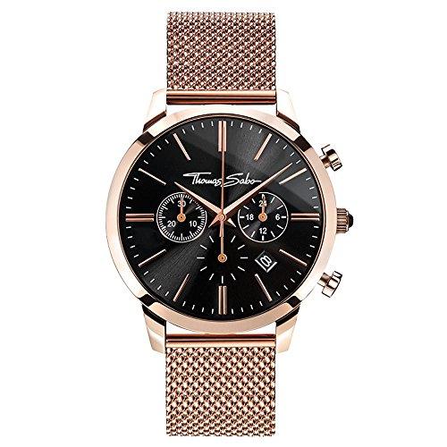 Thomas Sabo Herren Armbanduhr Chronograph Quarz Edelstahl WA0246-265-203-42 mm