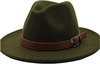 Fashion Sun Hat for Men Women Fashion Fedora Hat Wool Felt Leather Belt with Belt Lady Retro Church Jazz Hat Elegant Gentleman Suitable for hot Weather Season (Color : Green, Size : 56-58CM)