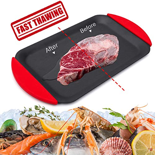GEMITTO 3 in 1 Mini Defrosting Tray, Multifunction Thawing Plate, for Quickly Rapidly Defrosting Frozen Meat, Beef, Chicken Breast, Also for Serving Tray/BBQ Roast Board
