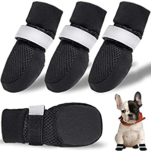 CALHNNA Dog Boots for Small, Medium Dogs – Dog Shoes with Breathable Mesh Nonslip Rubber Soles(Upgrade) to Prevent Scratching Licking