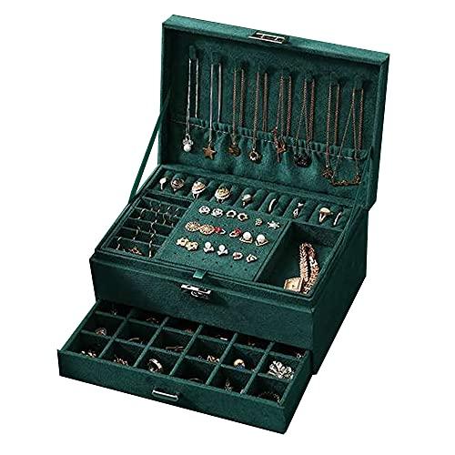 Jcevium Dreilagige Vintage-Schmuckschatulle, Flanell, für Ohrringe, Ringe, Halsketten, Armbänder, Schmuckorganizer, Aufbewahrungsbox mit Schublade für Mädchen und Frauen, dunkelgrün