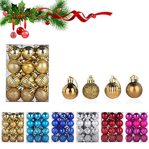 WELLXUNK® Palline di Natale, 24pcs Albero di Natale Palla Decorazioni, Palline di Natale Opache,...