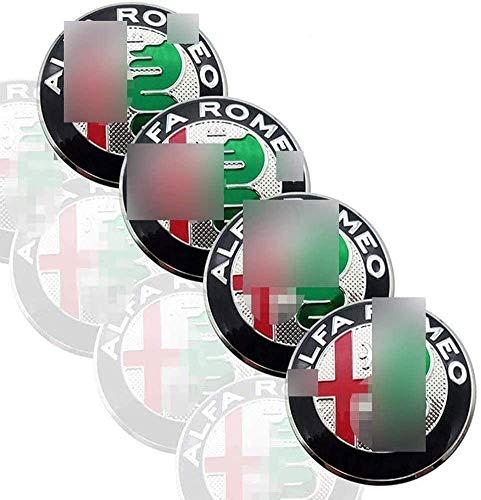 BGTJN 4pcs para 56MM Alfa Romeo Mito 147 156 159 166 Centro Tapacubos, Car Pegatina Centrales Tapones Mediados Tapas De Llantas Cubo De La Rueda AleacióN Logo Insignia Coche Decorativo Accesorios