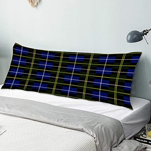 NANITHG Body Kissenbezug Abdeckung Blaues Nova Scotia Tartan Plaid 50 cm x 135 cm Langer Kissenbezug Weiche, gemütliche, luxuriöse, seidige Mikrofaser mit Reißverschlüssen für die Schlafsofa-Couch im