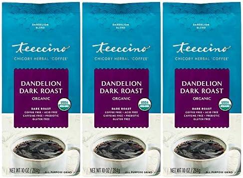 Teeccino Coffee Alternative Dandelion Dark Roast Detox Deliciously with Dandelion Herbal Coffee product image