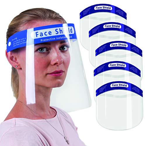 Visiera Protettiva 5 PZ, Maschera Protettiva Trasparente Antigoccia Con Protezione Antipolvere,Protettiva Trasparente in PET Protezione antiappannamento a Prova di Saliva - confezione da 5 PZ