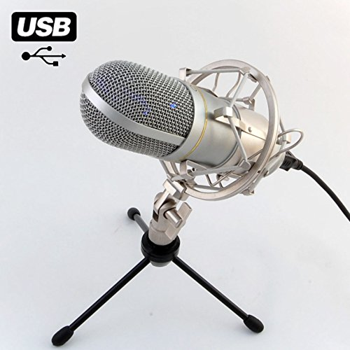 MCU-01 USB Studio Mikrofon Rap, Homerecording, Hiphop Win XP,VISTA,7,8,10 MAC Grossmembran Kondensatormikrofon mit Hochwertige Metall-Spinne, Home Office, Videokonferenz, online lernen, Unterricht, Streaming