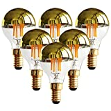 G45 4W Vintage LED Filament Light Bulb,Half Chrome Golden Mirror Top Light Bulb,Energy Saving Warm White 2700K, E12 Candelabra Base, 40 Watt Equivalen,Non-dimmable,6Pack