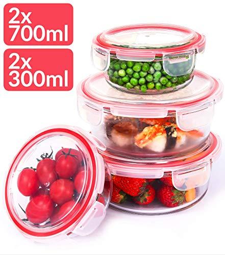 Glas Frischhaltedosen mit Deckel Rund - 4er Set - Luftdicht - Spülmaschinenfest - Borosilikatglas