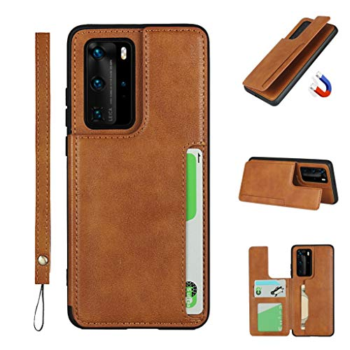 Jaorty Huawei P40 Pro Luxury PU Leather Case,Credit Card Holder,Cash Slots,Stand Function Soft TPU Back Wallet Case Flip Wrist Strap Multi-Function Durable Case for Huawei P40 Pro 6.58