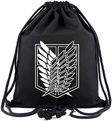 Attack on Titan Wings of Freedom Drawstring Backpack Bag Anime Casual Gym Bags for Men Women product image