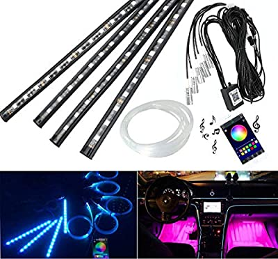 AZIMOM Car LED Strip Lights, 4pcs 48 LED Bluetooth App Controller Interior Lights Under Dash Lighting Kit & Car Use Fiber Optic Light Kit with Multicolor Music Sound Active Function for iPhone Android