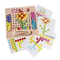 Perfeclan 木製パズルを積層したソートアートクリップビーズカウントゲーム早期教育手と目の協調脳トレーニングソリューション