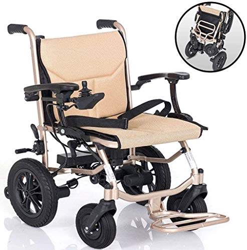 COUYY Electric Wheelchair, Folding Electrically Operated Lightweight 16Kg Removable Lithium Battery Handrail Adjustable 6 Files Electric Wheelchair