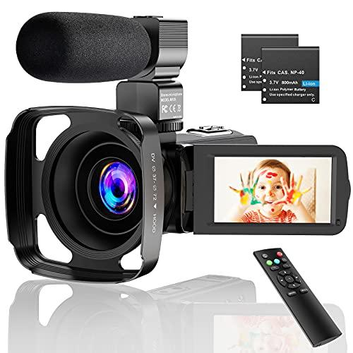 CamVeo 2.7K Camara de Video, Video Camara mit 1o6X leistungsstarken Zoom und 36 Mega Pixel IR Night Vision Digital, Kamera-Recorder mit 3,0 Zll LCD Touchscreen Camcorder Full HD mit Mikrofon
