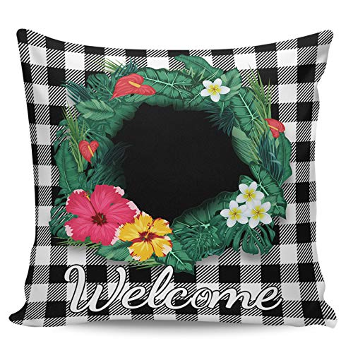 Scrummy Throw Pillow Covers 18' x 18' Welcome Tropical Plant Leaves Wreath Black White Buffalo Check Plaid Decorative Pillowcases Square Cushion Cover for Home Decor