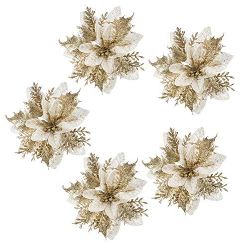 NUOBESTY 24Pcs Natale Poinsettia Glitter Ornamenti Albero di Natale Fiori di Natale Artificiali per Ghirlande Albero di Natale Ghirlanda Decorazioni per Le Vacanze d'oro