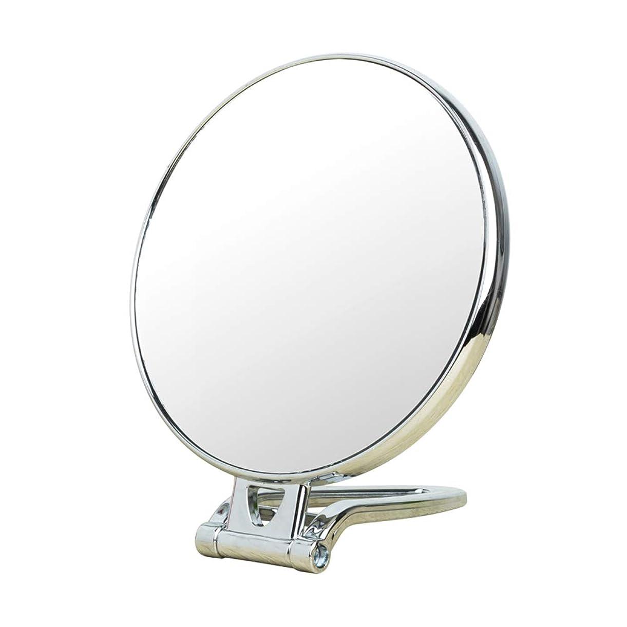 オーチャード有効なうなり声KSWD 倍率3倍 化粧鏡、 化粧ミラー 両面 円形 折りたたみ式 ポータブル、 銀、 28.5×15.5cm