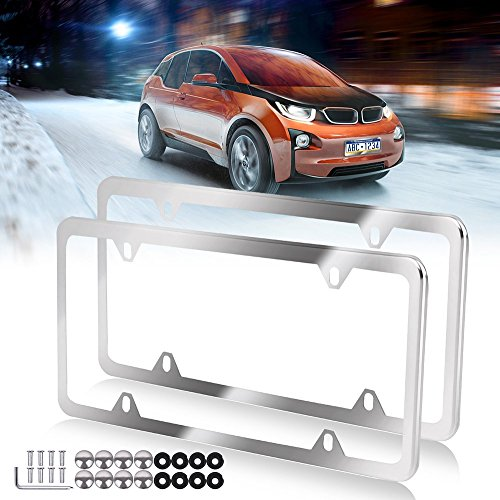 License Plate Frame with Chrome Screw Caps,Car Licenses Plate Covers,2Pcs 4 Holes Licenses Plates Frames For US Vehicles
