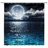 AMFD Moon Shower Curtain Full Moon Over Sea Ocean Clouds Planet Star Sky...