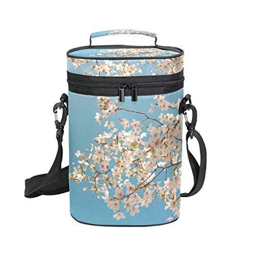 Montoj Blue Sky Sakura - Bolsa refrigeradora para 2 botellas de vino, con aislante