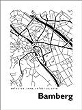 Poster 100 x 130 cm: Stadtplan von Bamberg von 44spaces -