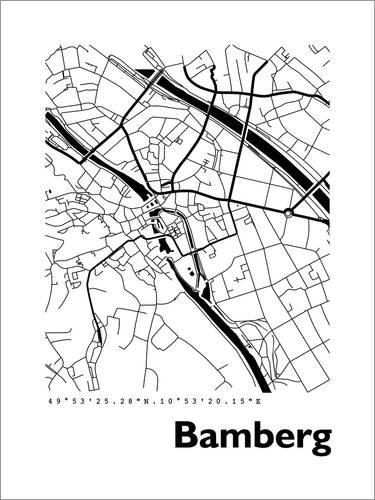 Posterlounge Leinwandbild 70 x 90 cm: Stadtplan von Bamberg von 44spaces - fertiges Wandbild, Bild auf Keilrahmen, Fertigbild auf echter Leinwand, Leinwanddruck