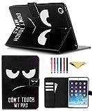 KEROM - Funda para iPad de 9,7 pulgadas (funda iPad de 6ª generación/carcasa iPad de 5ª generación), funda iPad Air 2, funda con soporte y apagado automático, con ojos grandes