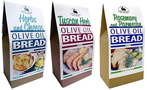 Rabbit Creek Olive Oil Bread Mix Variety Pack of 3 – Herb & Cheese, Rosemary & Parmesan, and Tuscan Herb Bread Mix
