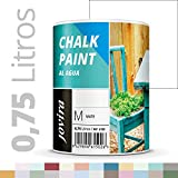 PINTURA EFECTO TIZA,CHALK PAINT, AL AGUA MATE, Renueva tus muebles con creatividad. (750ML, BLANCO)