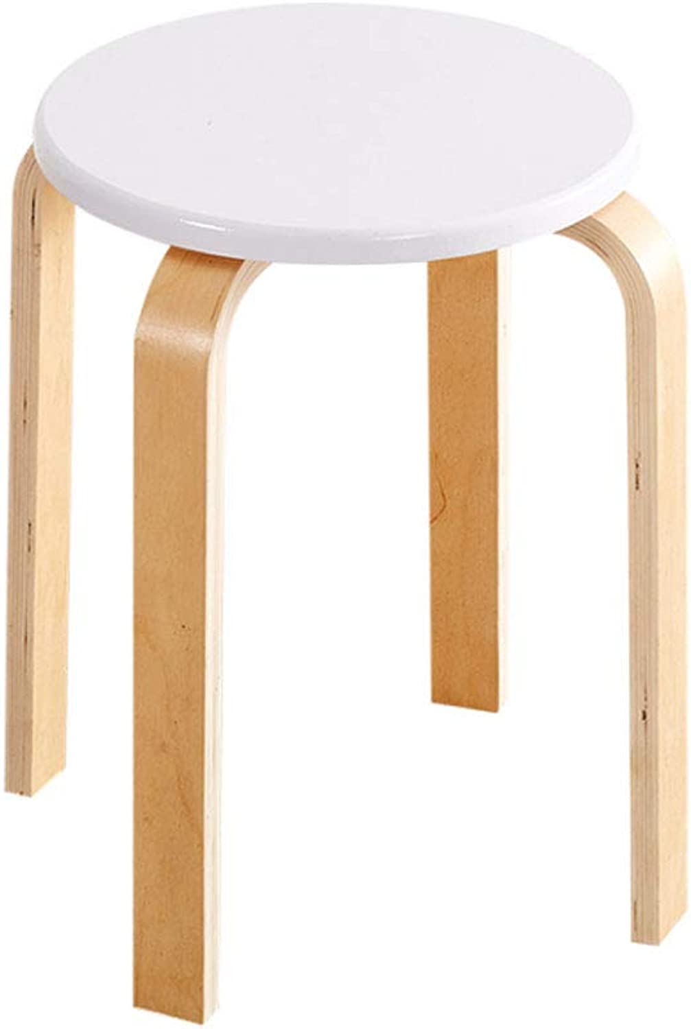NJ STOOLS- Stool Solid Wood Living Room Small Chair Home Simple Modern Fabric Table Stool (color   White)