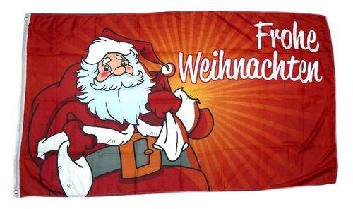 Fahne / Flagge Frohe Weihnachten Weihnachtsmann rot 90 x 150 cm