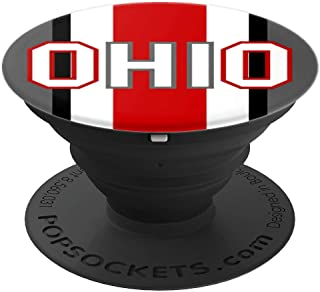 State of Ohio Ohioan Pride Red White Black Grey Striped - PopSockets Grip and Stand for Phones and Tablets
