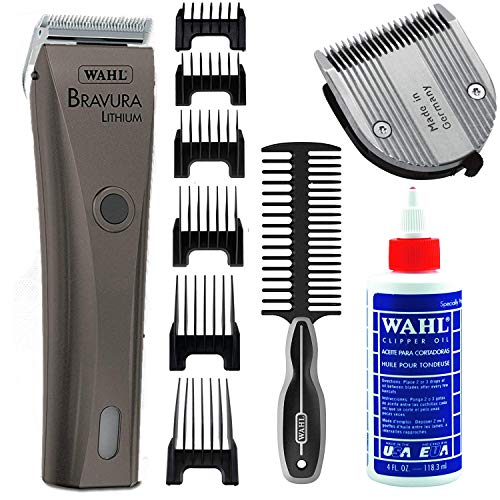 Wahl Professional Animal Bravura Cordless Lithium Pet, Dog, and Cat Clipper with Replacement 5-in-1 Adjustable Fine Blade, Equine Horse Grooming Comb and Blade Oil