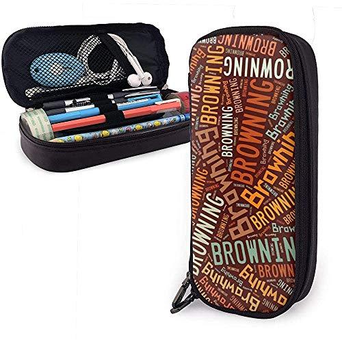 Browning American Cognome Portamatite in pelle di grande capacità Portapenne Portaoggetti grande Scatola Portaoggetti Porta penne Borsa per cosmetici portatile