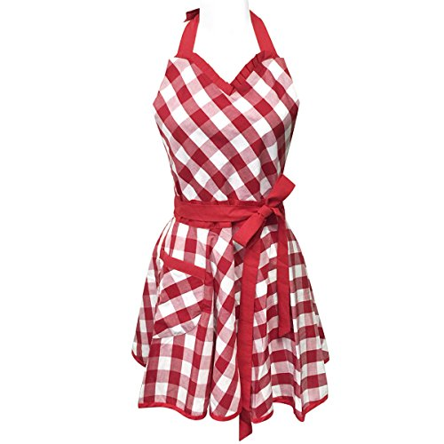 Wrapables Adjustable Flirty Hostess Apron, Red Gingham