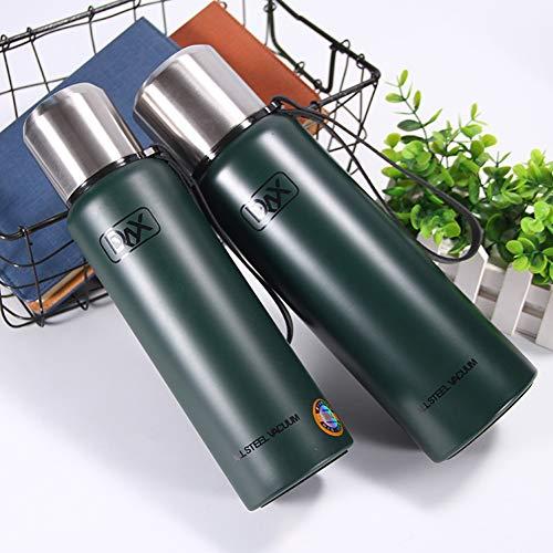 szlsl88 roestvrijstalen thermoskan, vacuüm thermoskan voor waterflessen met grote inhoud voor buiten reizen. 1000ml groen