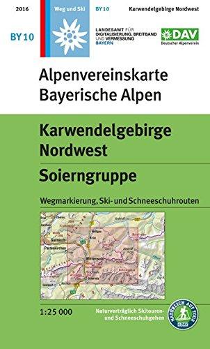 Karwendelgebirge Nordwest, Soierngruppe: Topographische Karte 1:25.000 mit Wegmarkierungen, Skirouten, Schneeschuhrouten: Mit Wegmarkierungen und Skirouten (Alpenvereinskarten)