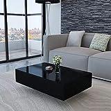 Cikonielf - Mesa de centro de 85 x 55 x 31 cm, color negro brillante, mesa de café rectangular de MDF para salón, oficina, casa