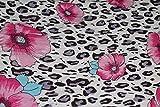 AllTissus Stoff Viskose Bedruckt Leopard Blume Rosa –