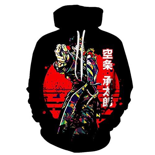 WWZY JoJo's Bizarre Adventure Kujo Jotaro Sudadera con Capucha Anime Hoodie con Personajes Impresos Y cordón Ajustable para Hombre Disfraz,Negro,XXL
