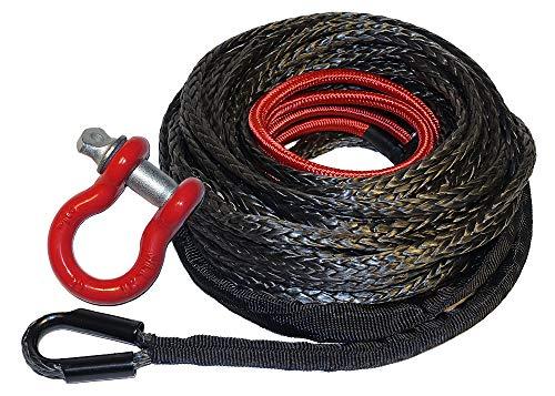 """RANGER ULTRANGER SY45 Black 7500LBs 1/4"""" x 50' UHMWPE Synthetic UTV ATV Winch Rope 1 Pack"""