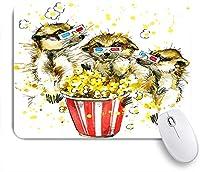 ECOMAOMI 可愛いマウスパッド 面白いミーアキャットとポップコーングラフィックミーアキャット 滑り止めゴムバッキングマウスパッドノートブックコンピュータマウスマット