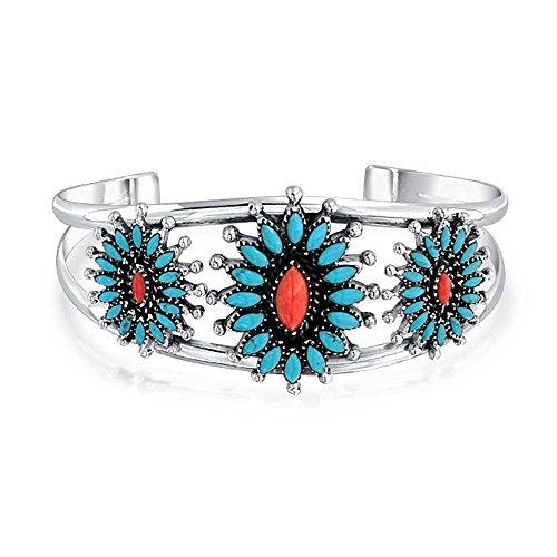 Südwesten Navajo Stil Gefärbt Coral Stabilisiert Türkis Squash Blossom Breite Manschette Armreif Für Damen 925 Silber
