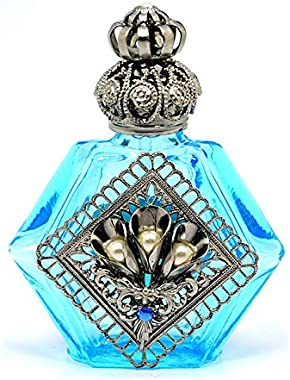 Gabriella's Gifts Czech Decorative Jeweled Light Blue Perfume Oil Bottle Holder