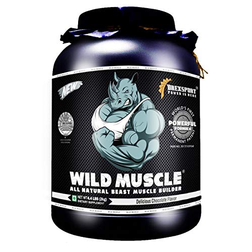 DREXSPORT - Wild Muscle - All Natural Muscle Builder, Whey Protein Powder - Blend of Whey Protein Isolate + Whey Protein Concentrate + Creatine HCL + BCAA + Glutamine - 2Kg Chocolate